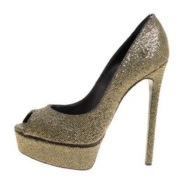 Casadei Glitter Lamé Fabric Daisy Peep Toe Platform Pumps Size 38.5 149990