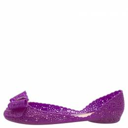 Salvatore Ferragamo Purple Nilly Jelly Bow Ballet Flats Size 40.5 149379
