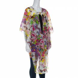 Etro Multicolor Floral Printed Cotton Silk Kaftan Tunic L 149568