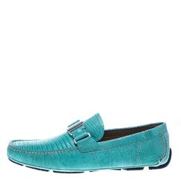 Salvatore Ferragamo Aqua Green Lizard Sardegna Loafers Size 43 158740