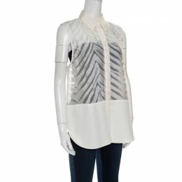 3.1 Phillip Lim Off White Zig Zag Fil Coupe Sleeveless Shirt M 150723
