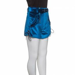 Self-Portrait Peacock Blue Velvet Lace-up Cuff Belted High Waist Shorts S 147313