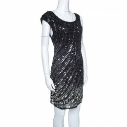 Alice + Olivia Black and Silver Sequin Embellished Sleeveless Charlie Dress L 143705