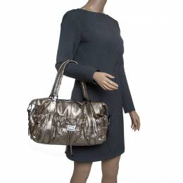 Burberry Metallic Gold Leather Curzon Shoulder Bag 143557