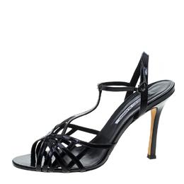 Manolo Blahnik Black Patent Leather Cut Out T Strap Sandals Size 42 144249