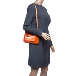 Prada Orange Suede and Satin Shoulder Bag 141541