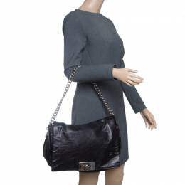 Celine Metallic Black Leather Shoulder Bag 142771