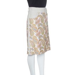 Etro Beige Linen Silk Paisley Printed Skirt M 141682