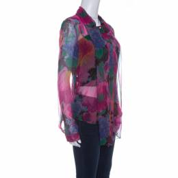 D&G Multicolor Printed Silk Bow Neck Tie Detail Long Sleeve Blouse M Dandg 142587