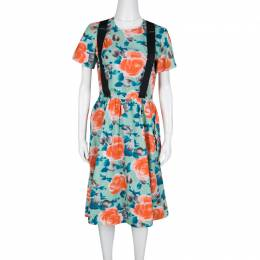 Marc By Marc Jacobs Pale Jade Jerrie Rose Printed Cotton Poplin Dress M 138789