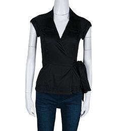 Diane Von Furstenberg Black Cotton Contrast Stitch Detail Wrap Shirt XS 139917