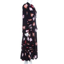 Rochas Black Floral Printed Silk Lace Trim Pintuck Detail Midi Dress M 140196
