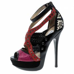 Jimmy Choo Multicolor Embellished Leather And Snakeskin Vivienne Platform Cage Sandals Size 38 140190