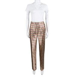 Yves Saint Laurent Paris Multicolor Striped Silk Brocade High Waist Pants M 138671