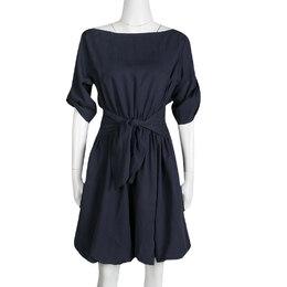 Burberry Brit Navy Blue Waist Tie Detail Boat Neck Dress M 138676