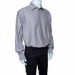 Armani Collezioni Grey Striped Cotton Long Sleeve Button Front Shirt 4XL 142720