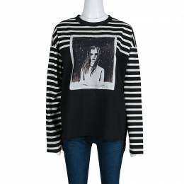 Marc By Marc Jacobs Monochrome Striped Dreamy Rhea Print Sweatshirt L 138643
