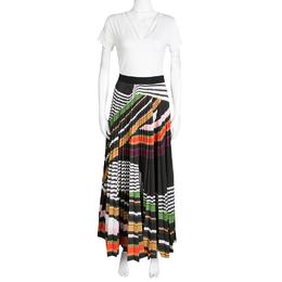 Mary Katrantzou Multicolor Graphic Viola Striped Plisse Pelar Skirt M 138690