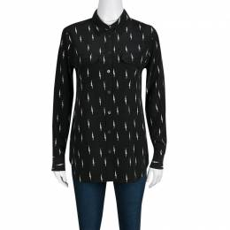 Kate Moss For Equipment Black Lightning Bolt Print Silk Slim Signature Shirt S