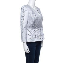 Matthew Williamson Grey Floral Printed Tulle Layered Box Jacket M 141398