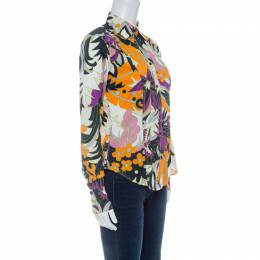 Etro Multicolor Floral Printed Cotton Long Sleeve Shirt M 142637