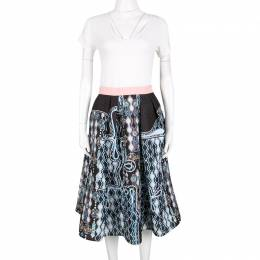 Peter Pilotto Black 3D Waffle Texture Printed Circle Skirt M 140120