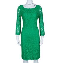 Diane Von Furstenberg Green Zarita Long Sleeve Lace Dress L 139741