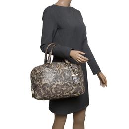 Prada Beige Talco Lace Print Cervo Leather Bowling Bag 142098