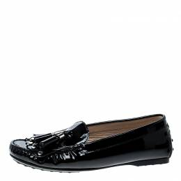 Tod's Black Patent Leather Tassel Loafers Size 36.5 Tod's 142643