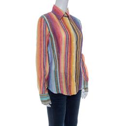 Etro Multicolor Striped Linen Blend Long Sleeve Button Front Shirt L 142648