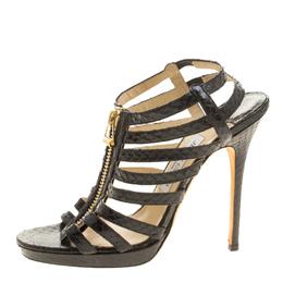 Jimmy Choo Black Python Glenys Gladiator Platform Sandals Size 39 140648
