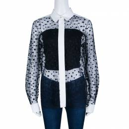 Chloe Navy Blue and White Dot Embroidered Tulle Sheer Shirt M 140353