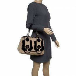 Fendi Brown/Black Wool B Bag 142212