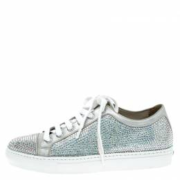 Le Silla Grey Crystal Embellished Suede Lace Up Sneakers Size 37 138819