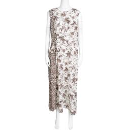 Tory Burch Whey Tropicale Printed Silk Sleeveless Midi Dress L 138818