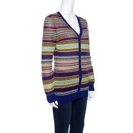 M Missoni Mutlicolor Patterned Knit Rib Trim Cardigan M 141401