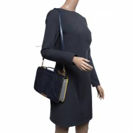Emilio Pucci Dark Blue Snake Skin Leather Newton Shoulder Bag 141099