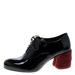 Miu Miu Black Patent Leather Red Shearling Fur Heel Oxfords Size 37 138846