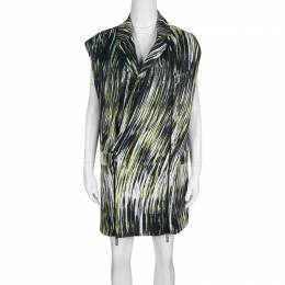 Kenzo Multicolor Printed Cotton Twill Zip Detail Long Sleeveless Jacket S 138637