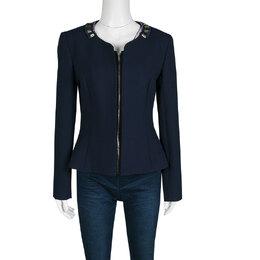 Matthew Williamson Navy Blue Embellished Neck Detail Zip Front Jacket M 138521