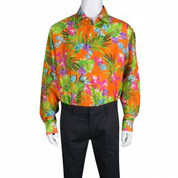 Ralph Lauren Orange Tropical Floral Print Button Front Silk Shirt XXL 134618