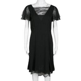 Emilio Pucci Black Lace Trim Flutter Sleeve Dress M