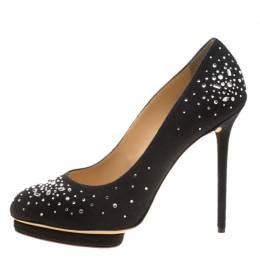 Charlotte Olympia Black Crystal Embellished Linen Bejeweled Dotty Platform Pumps Size 41 137643