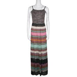 M Missoni Multicolor Lurex Knit Sleeveless Maxi Dress M 136605