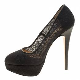 Charlotte Olympia Black Lace Gothic Immodesty Platform Pumps Size 41 137673