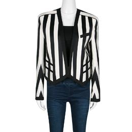 Balmain Monochrome Striped Open Front Blazer M 136920