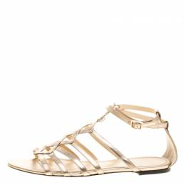 Charlotte Olympia Metallic Beige Leather Magdalena Flat Sandals Size 41 134416