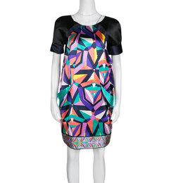 Emilio Pucci Geometric Printed Satin Pocket Detail Shift Dress S 138062