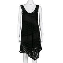 Marc By Marc Jacobs Black Eyelet Jersey Asymmetric Sleeveless Yuki Dress S 136621