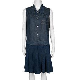 Miu Miu Indigo Dark Wash Colorblock Denim Sleeveless Pleated Dress M 136551